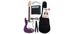 ROCKTILE BANGER'S PACK ELECTRIC GUITAR SET, 8-PIECE PURPLE